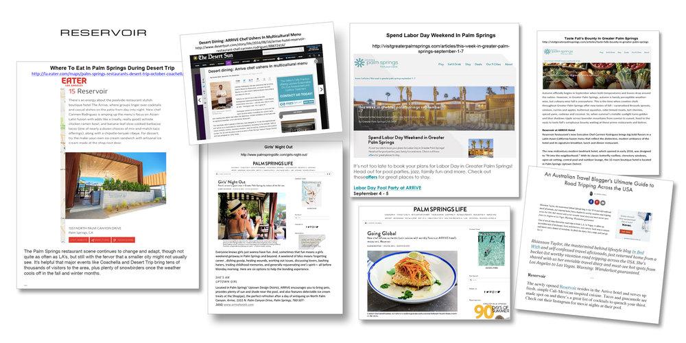 Reservoir restaurant branding and PR.