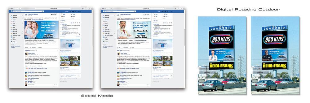Social media, digital rotating outdoor billboards.